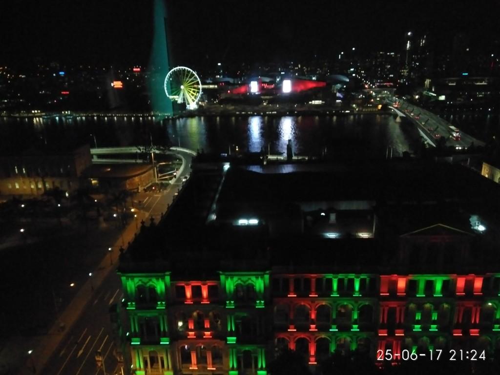Blick auf den Fluss aus meinem Hotelzimmerfenster nachts...